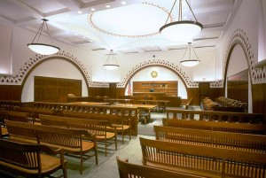 A courtroom in the Moakley Courthouse
